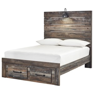 Full Panel Bed w/ Light & Footboard Drawers