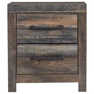 Rustic 2-Drawer Nightstand with USB Ports