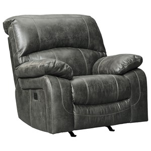 Faux Leather Power Rocker Recliner w/ Adjustable Headrest