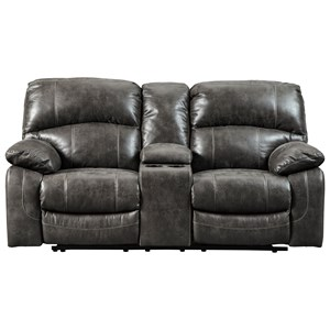 Faux Leather Power Reclining Loveseat w/ Adj. Headrests & Console