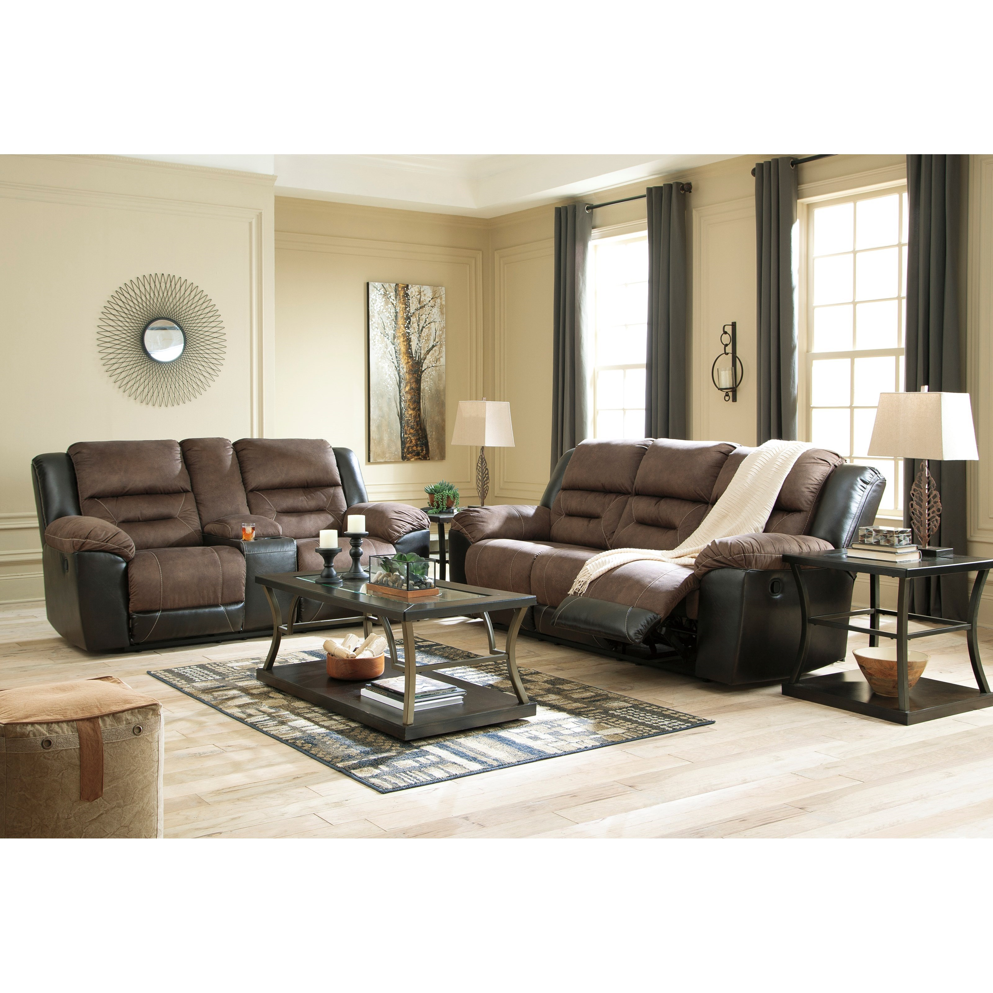 Earhart Reclining Living Room Group by Benchcraft at Virginia Furniture Market