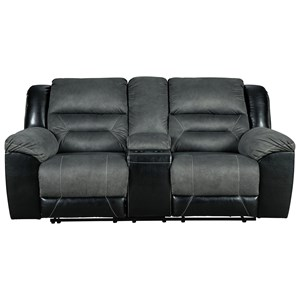Casual Reclining Loveseat with Console