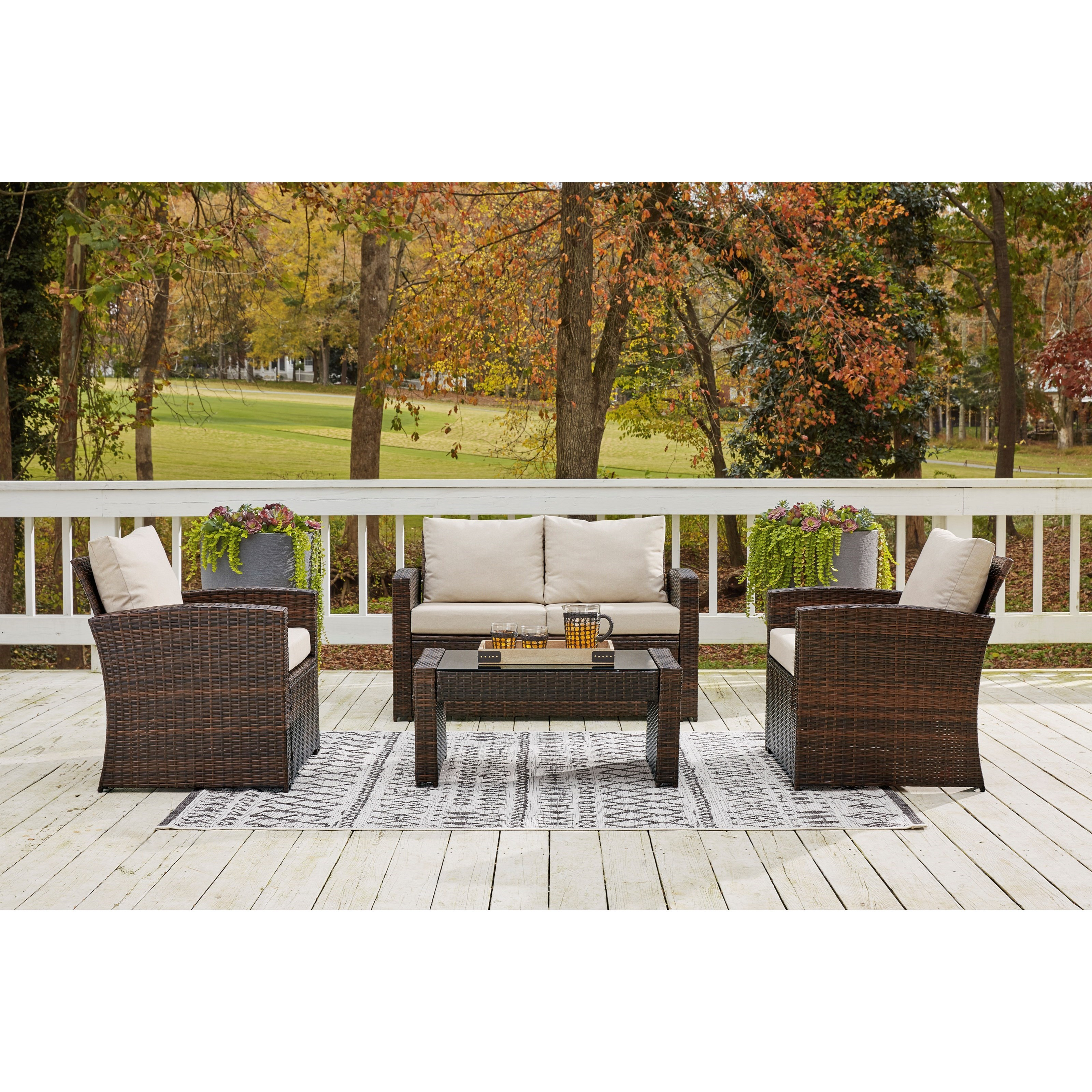 East Brook Loveseat w/ Table & 2 Lounge Chairs by Signature at Walker's Furniture