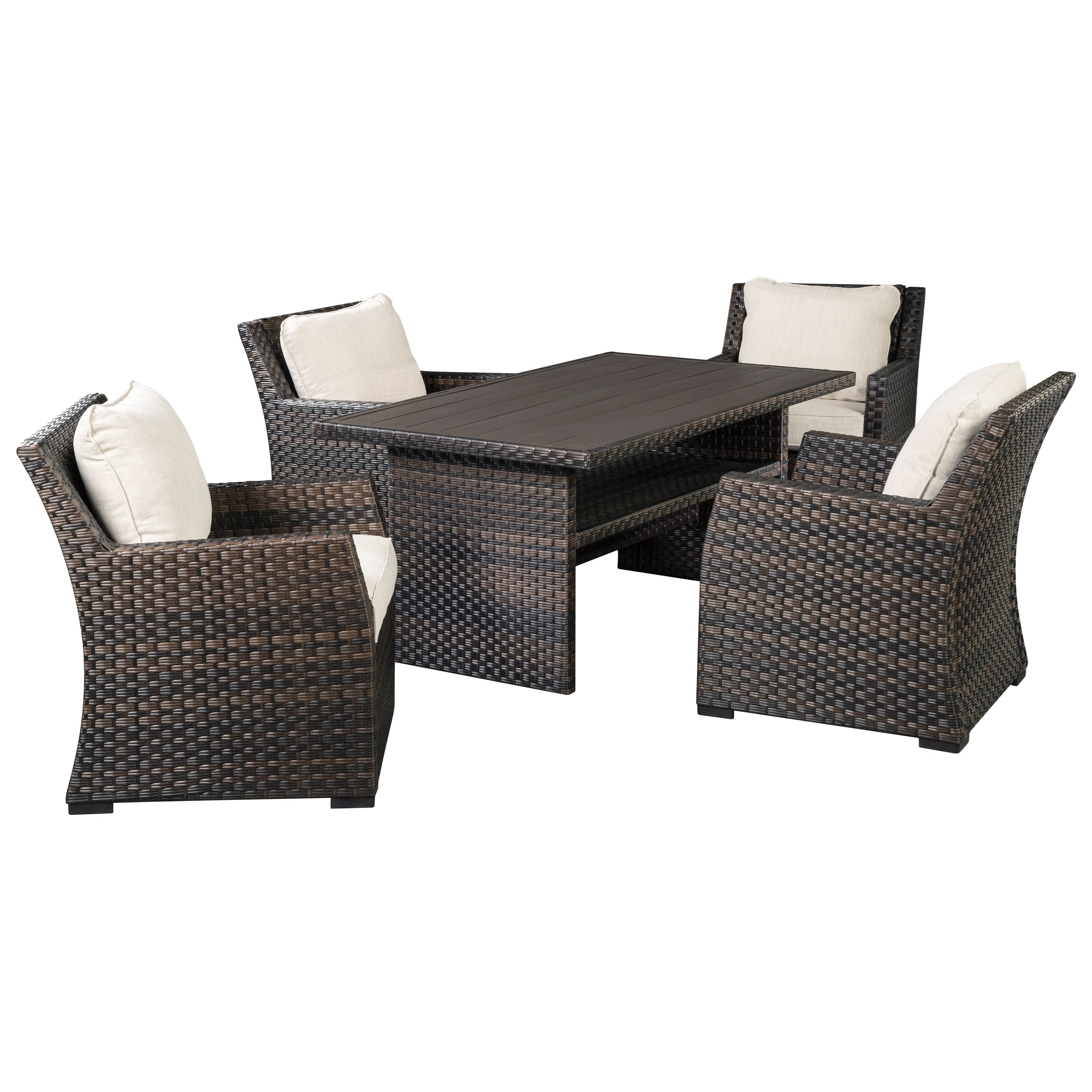 Easy Isle Multi-Use Table & 4 Lounge Chairs by Signature at Walker's Furniture
