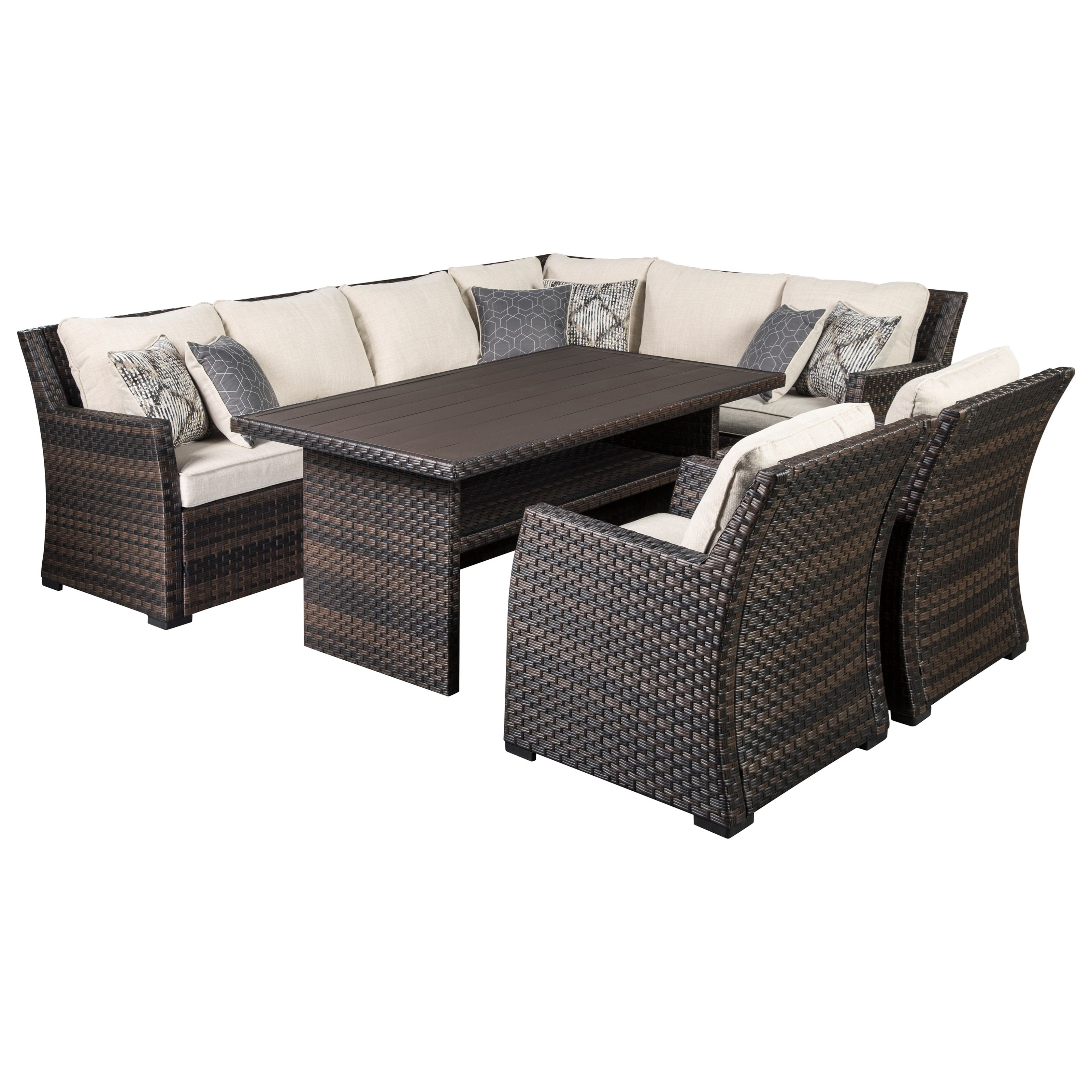 Easy Isle Outdoor Sectional with Table & 2 Chairs by Signature at Walker's Furniture