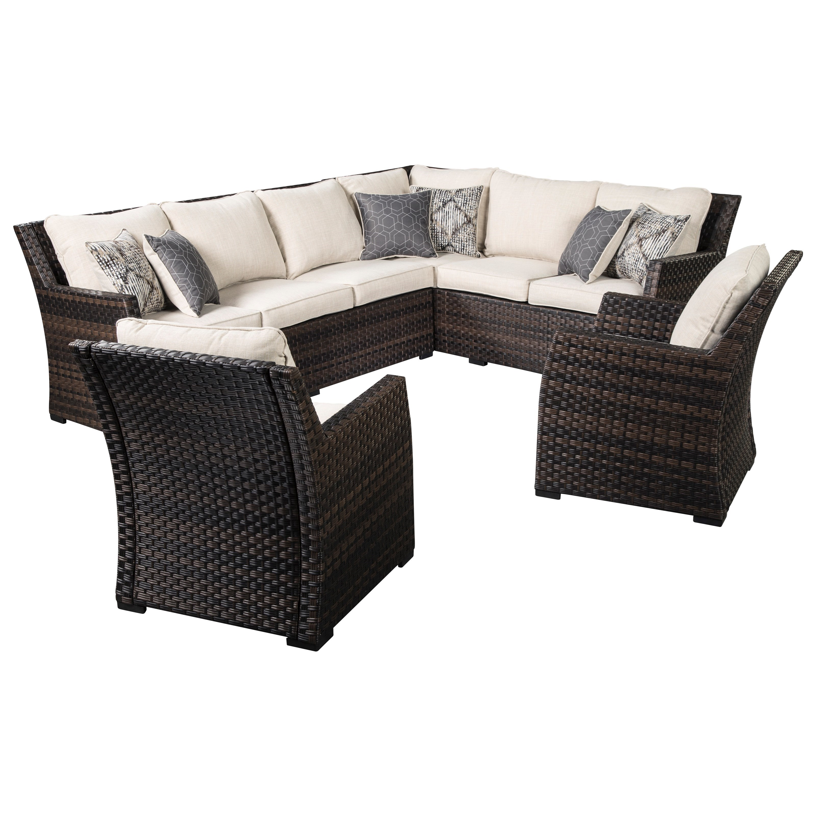 Easy Isle Outdoor 2-Piece Sectional & 2 Lounge Chairs by Signature Design by Ashley at Northeast Factory Direct