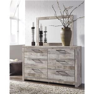 Six Drawer Dresser and Mirror Package