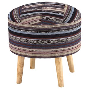 Woven Stripe Accent Stool with Wood Legs