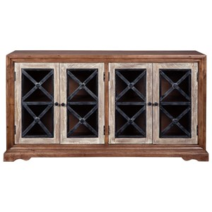 Accent Cabinet with 4 Glass Doors with X-Motif