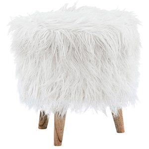 White Faux Fur Storage Ottoman with Tapered Wood Legs