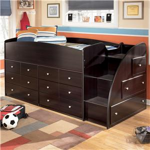 Signature Design by Ashley Embrace Twin Loft Bed with Chest Storage