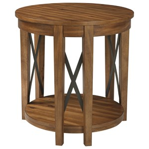 Round End Table with Acacia Veneer & Industrial Metal Accents