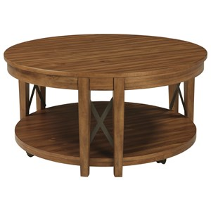 Acacia Veneer Round Cocktail Table with Casters & Industrial Metal Accents