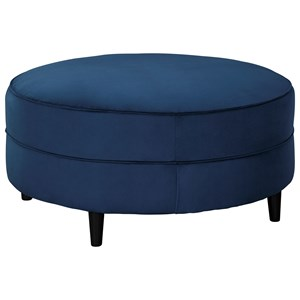 Round Oversized Accent Ottoman in Blue Velvet Fabric