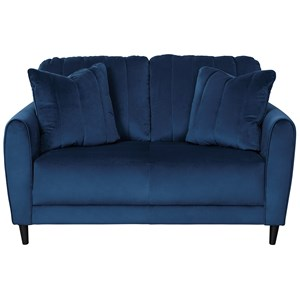 Contemporary Loveseat in Blue Velvet Fabric
