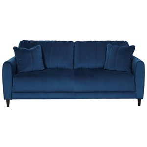 Contemporary Sofa in Blue Velvet Fabric