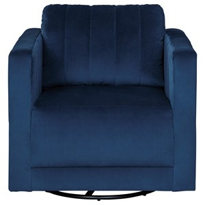 Contemporary Swivel Accent Chair in Blue Velvet Fabric