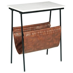 Black Metal Accent Table with White Marble Top and Brown Faux Leather Magazine Holder