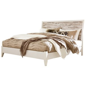 Rustic Gray/White King Panel Bed