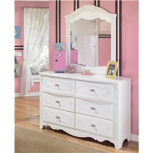 Country Style 6-Drawer Dresser and Landscape Mirror