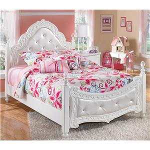 Full Ornate Poster Bed with Tufted Headboard & Footboard
