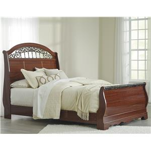 Queen Sleigh Bed with Scrolled Insert and Faux Stone Top Footboard