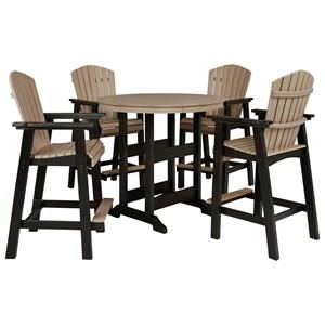 5-Piece Round Bar Table Set