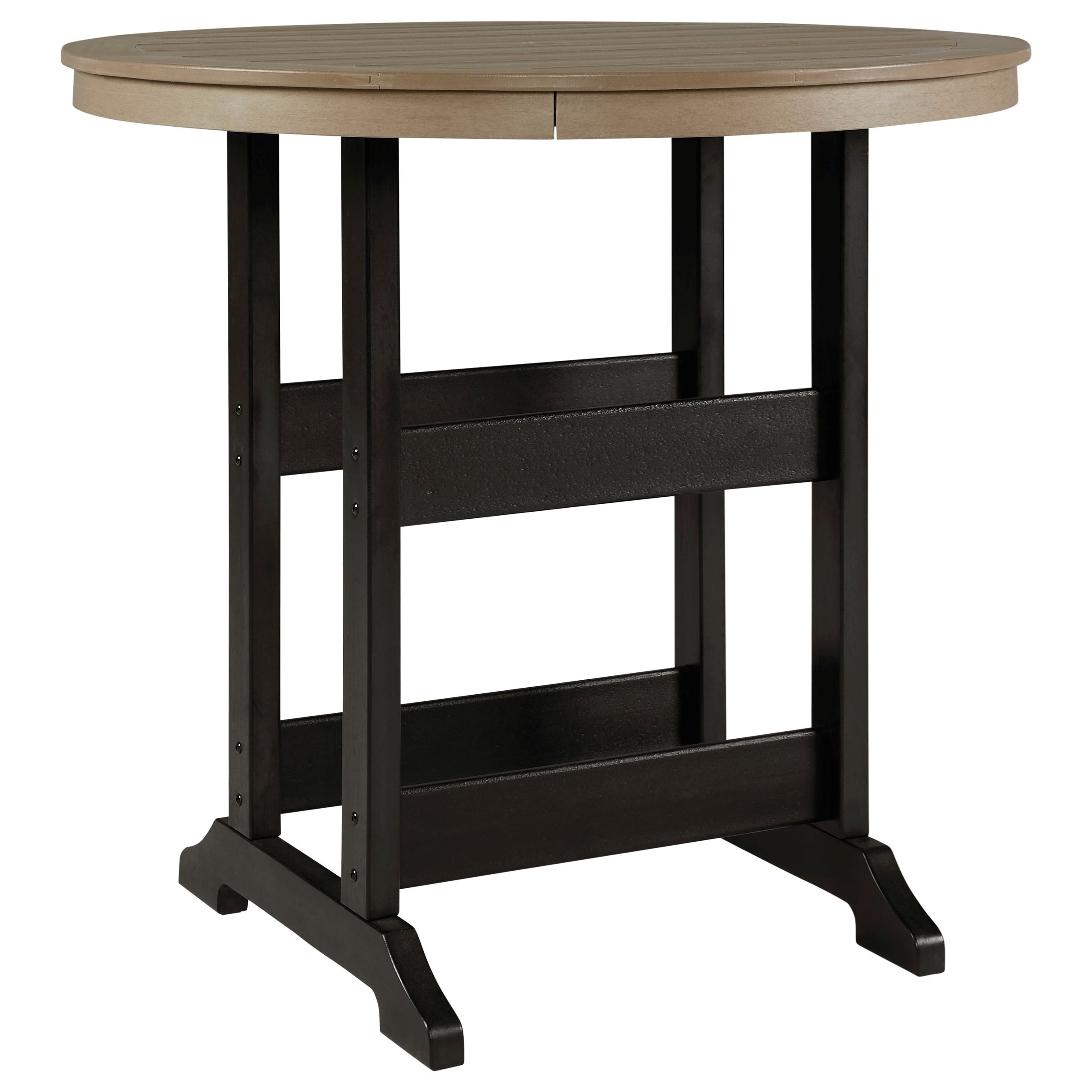 Fairen Trail Round Bar Table w/ Umbrella Option by Signature Design by Ashley at Miller Waldrop Furniture and Decor