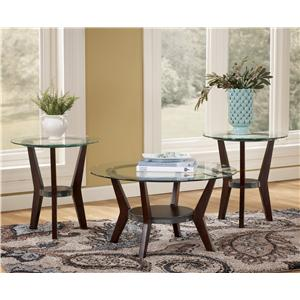 3-in-1 Group Occasional Tables with Glass Tops