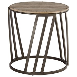 Relaxed Vintage Round End Table with Plank Top