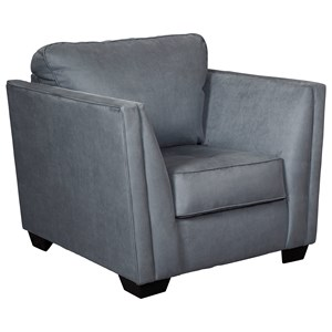 Contemporary Chair with Fared Arms and Cushion Tufting