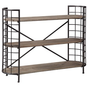 Industrial Solid Wood/Metal Low Bookcase with Curved Ends
