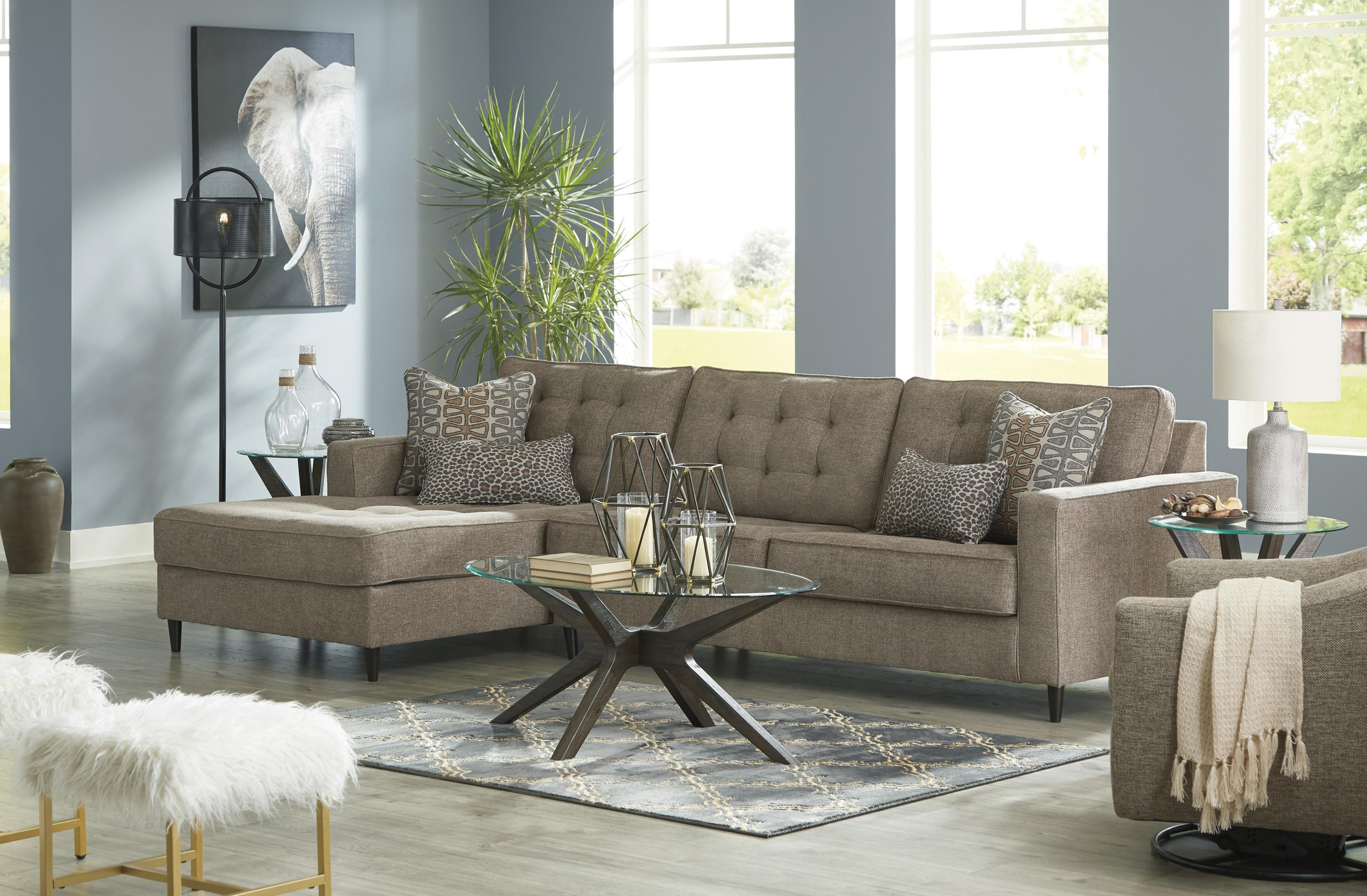 2 PC Sectional RAF Sofa and Swivel Glider