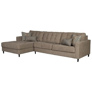 Mid Century Modern 3 Seat Sectional Sofa with Oversized LAF Chaise