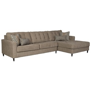 Mid Century Modern 3 Seat Sectional Sofa with Oversized RAF Chaise