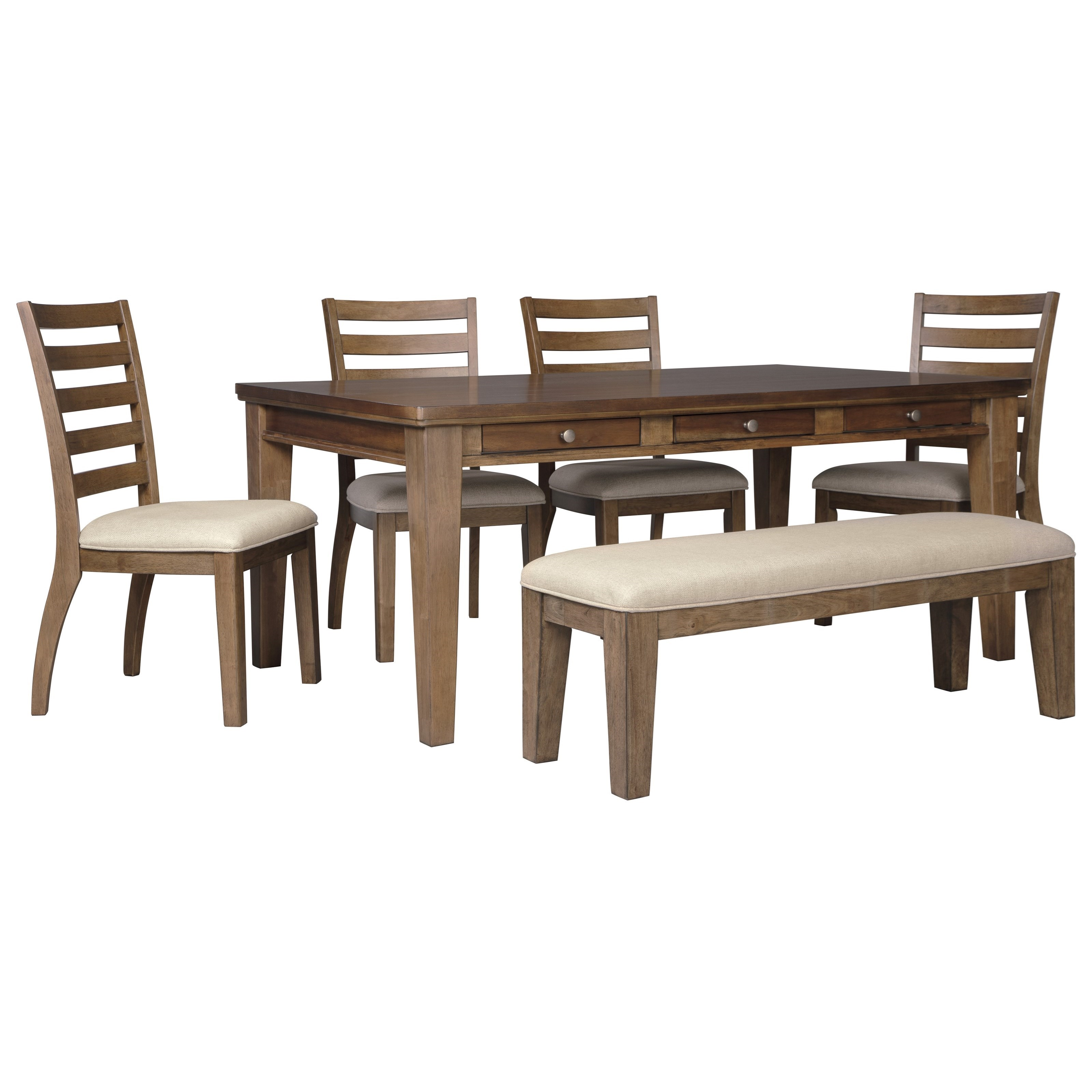 Flynnter 6 Piece Storage Table Set with Bench by Signature Design at Fisher Home Furnishings