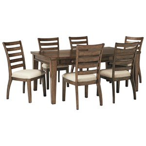 7 Piece Storage Table and Upholstered Chair Set