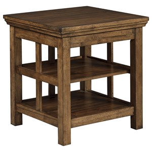 Transitional Square End Table in Medium Chestnut Brown Finish