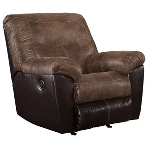Two-Tone Faux Leather Rocker Recliner