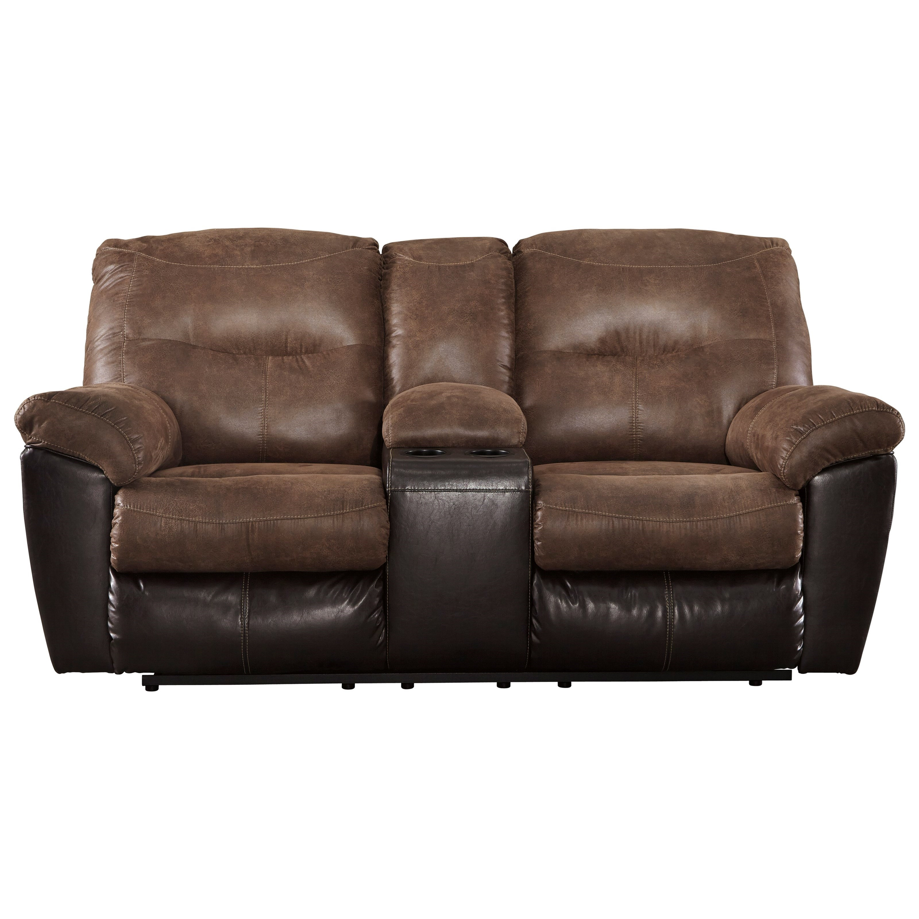 Follett Double Reclining Loveseat w/ Console by Signature Design by Ashley at Reid's Furniture