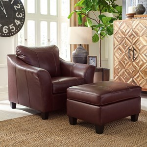 Contemporary Leather Match Chair and Ottoman Set