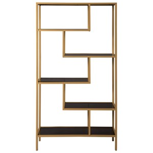 Contemporary Gold Finish Metal Bookcase with Gray Glass Shelves