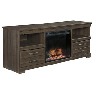 Rustic Look Large TV Stand w/ Fireplace Insert