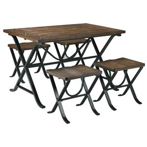 Industrial Style Rectangular Dining Room Table Set