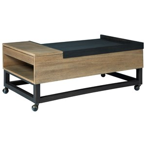 Two-Tone Lift Top Cocktail Table with Casters and Cup Holders