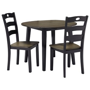 Two-Tone Finish 3-Piece Round Drop Leaf Table Set