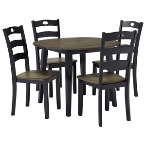 Two-Tone Finish 5-Piece Round Drop Leaf Table Set
