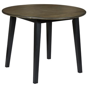 Two-Tone Finish Round Drop Leaf Table