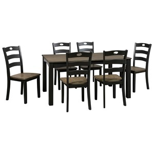 Two-Tone Finish 7-Piece Dining Room Table Set