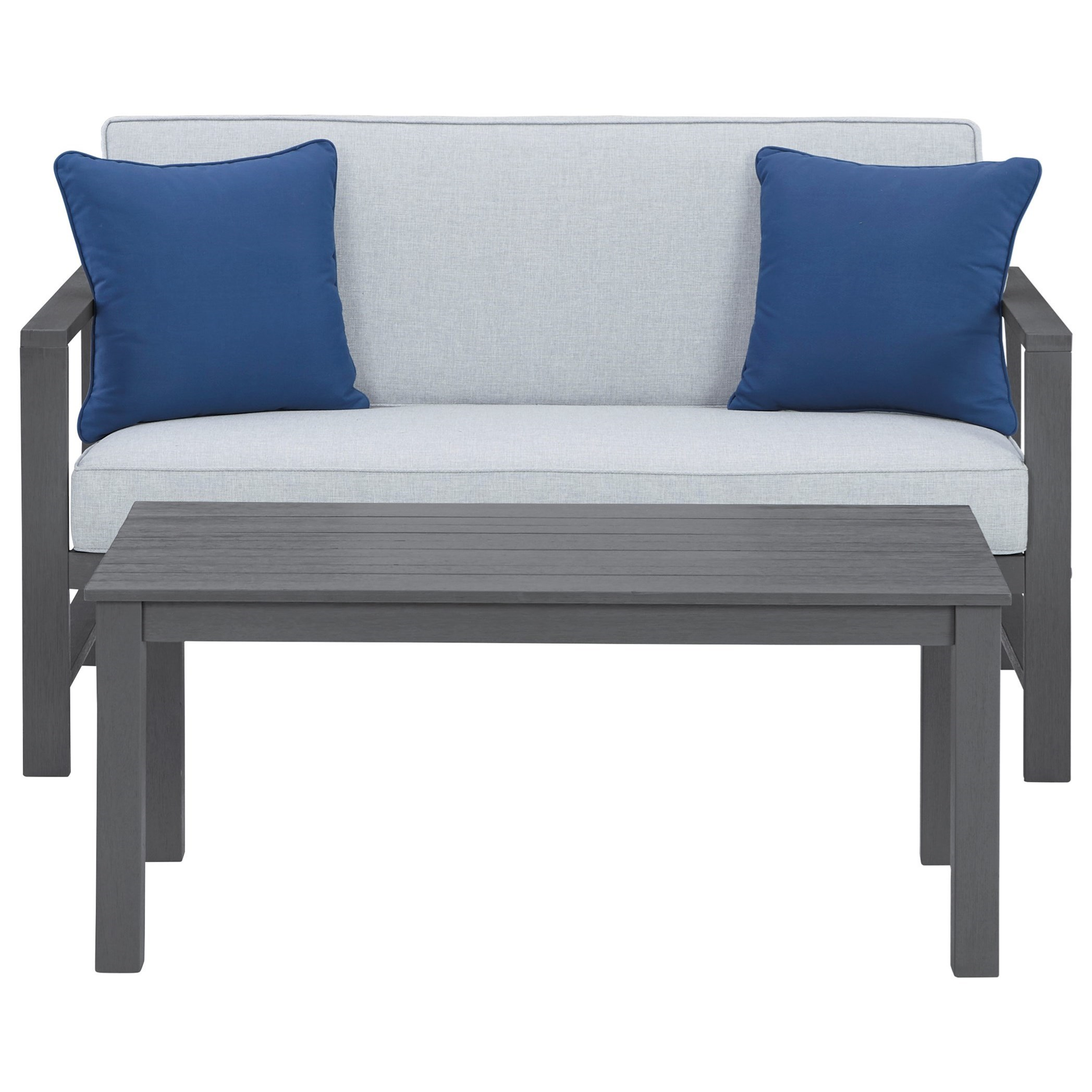 Fynnegan Loveseat w/ Table by Signature Design by Ashley at Northeast Factory Direct
